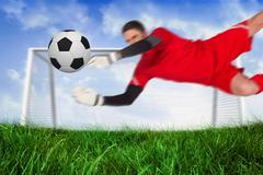 Fit goal keeper jumping up saving ball Stock Illustration
