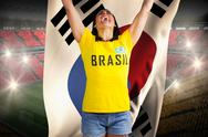 Stock Illustration of Excited football fan in brasil tshirt holding south korea flag