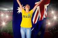 Stock Illustration of Excited football fan in brasil tshirt holding australia flag