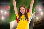 Stock Illustration of Pretty football fan in brasil t-shirt holding algeria flag