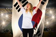 Stock Illustration of Pretty football fan in white cheering holding south korea flag