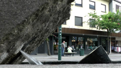 Europe Norway city of Molde 003 fountain in the street seen from below Stock Footage