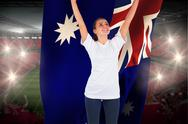 Stock Illustration of Excited football fan in white cheering holding australia flag