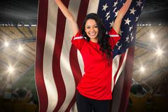 Stock Illustration of Cheering football fan in red holding usa flag