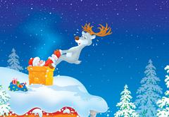 Santa and Reindeer on a housetop Stock Illustration