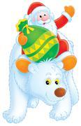 Santa Claus on a Polar Bear - stock illustration
