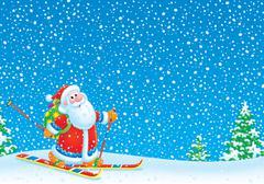 Santa Claus skier - stock illustration