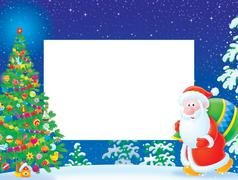 Christmas border with Christmas tree and Santa Claus Piirros