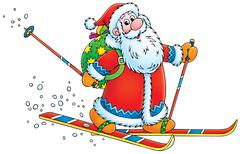 Santa Claus skier - stock illustration