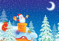Santa Claus stuck in a chimney Stock Illustration