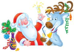 Santa Clause and Reindeer - stock illustration