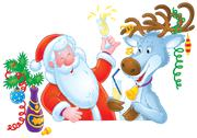 Stock Illustration of Santa Clause and Reindeer