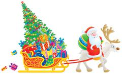 Santa rides on a Reindeer - stock illustration