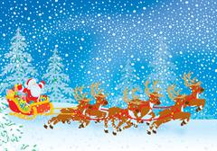 Sleigh of Santa Claus - stock illustration