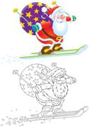 Santa Claus skier Stock Illustration