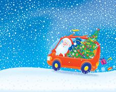 Santa carrying Christmas gifts in snowstorm Stock Illustration