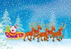 Sleigh of Santa Claus Piirros
