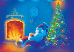 Santa Claus sleeping by the fire Stock Illustration
