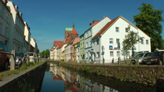"Old City of Wismar, Nicolai church and ""Frische Grube"" Stock Footage"