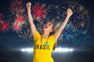 Stock Illustration of Pretty football fan in brasil t-shirt