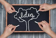 Composite image of multiple hands drawing idea tree with chalk - stock photo