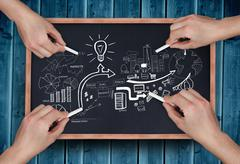 Composite image of multiple hands drawing brainstorm with chalk - stock photo