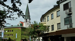 Europe Norway city of Molde 002 cityscape, curved and overgrown facades Stock Footage