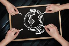 Composite image of multiple hands drawing globe with chalk - stock photo