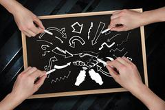 Composite image of multiple hands drawing arrows with chalk - stock photo