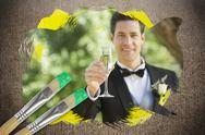 Stock Illustration of Composite image of groom toasting with champagne