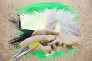 Stock Illustration of Composite image of groom placing ring on brides finger