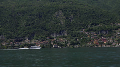 Italy, lake Como and surroundings, view from aboard the ship. Stock Footage
