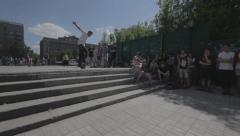Skateboarders doing tricks - filmed in motion Stock Footage