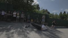 Skateboarder falls - filmed in motion Stock Footage