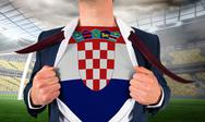 Stock Illustration of Businessman opening shirt to reveal croatia flag