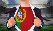 Stock Illustration of Businessman opening shirt to reveal portugal flag