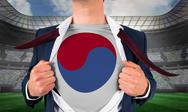 Stock Illustration of Businessman opening shirt to reveal korea republic flag
