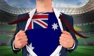 Stock Illustration of Businessman opening shirt to reveal australia flag