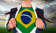 Stock Illustration of Businessman opening shirt to reveal brasil flag