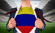 Stock Illustration of Businessman opening shirt to reveal colombia flag