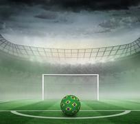 Football in brazilian colours - stock illustration
