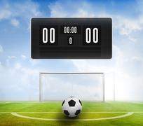Stock Illustration of Black scoreboard with no score and football