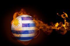 Stock Illustration of Fire surrounding uruguay ball