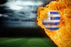 Stock Illustration of Fire surrounding uruguay flag football