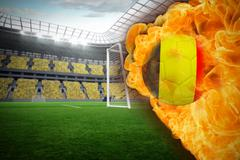Stock Illustration of Fire surrounding germany flag football