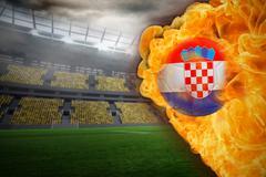 Stock Illustration of Fire surrounding croatia flag football
