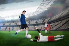 Stock Illustration of Football player in blue kicking