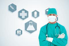 Composite image of portrait of an ambitious surgeon - stock illustration