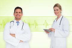 Composite image of happy medical team - stock photo