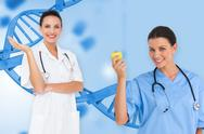 Stock Illustration of Composite image of happy female medical team
